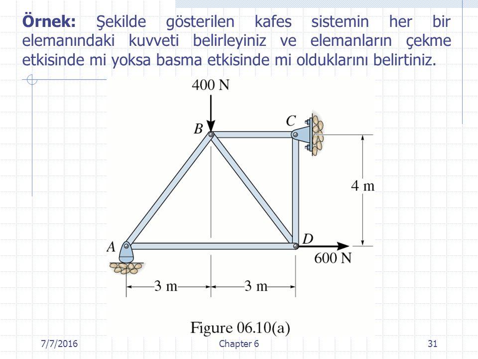 Örnek: Şekilde gösterilen kafes sistemin her bir elemanındaki kuvveti belirleyiniz ve elemanların çekme etkisinde mi yoksa basma etkisinde mi olduklarını belirtiniz.