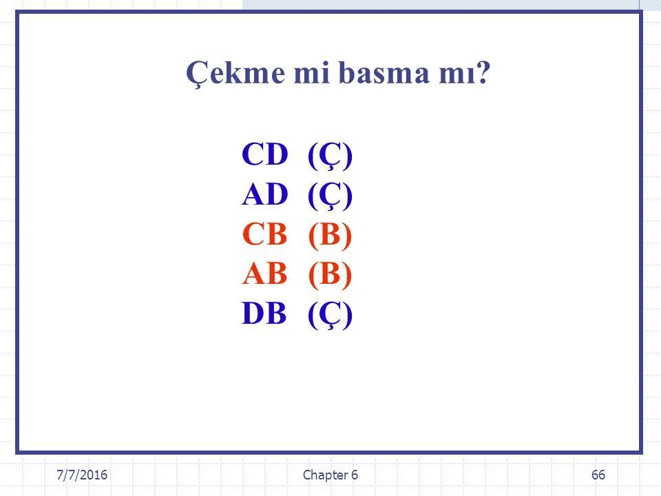 Çekme mi basma mı CD (Ç) AD (Ç) CB (B) AB (B) DB (Ç)