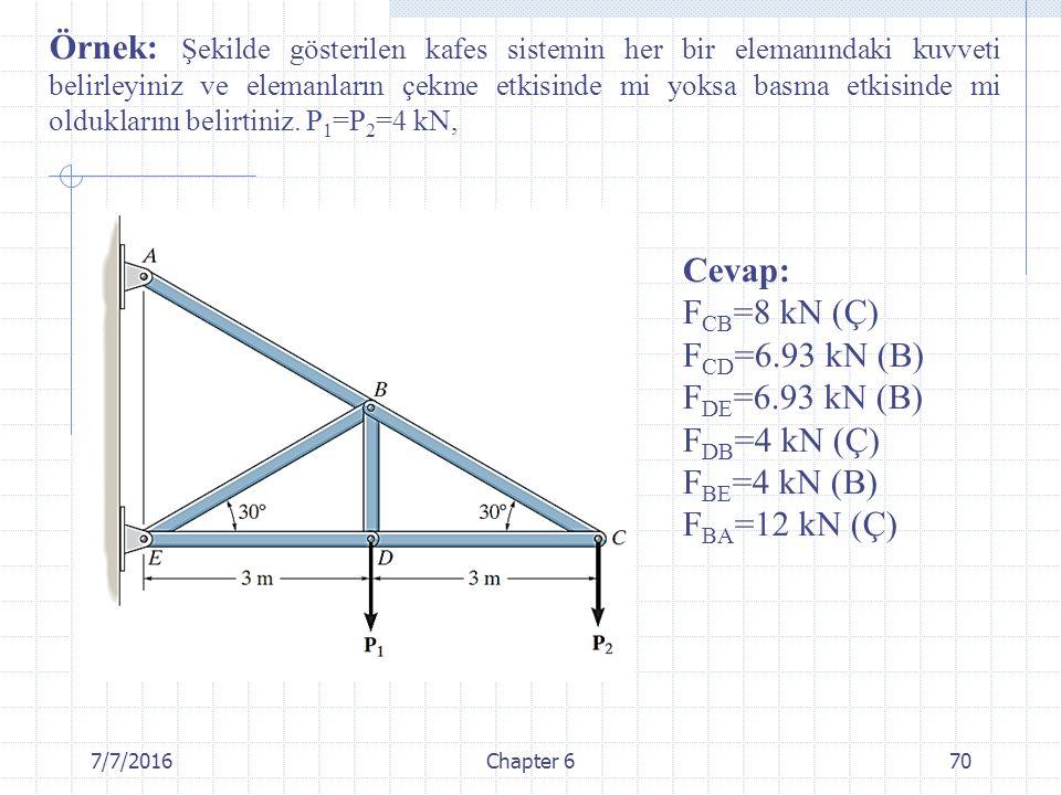 Örnek: Şekilde gösterilen kafes sistemin her bir elemanındaki kuvveti belirleyiniz ve elemanların çekme etkisinde mi yoksa basma etkisinde mi olduklarını belirtiniz. P1=P2=4 kN,