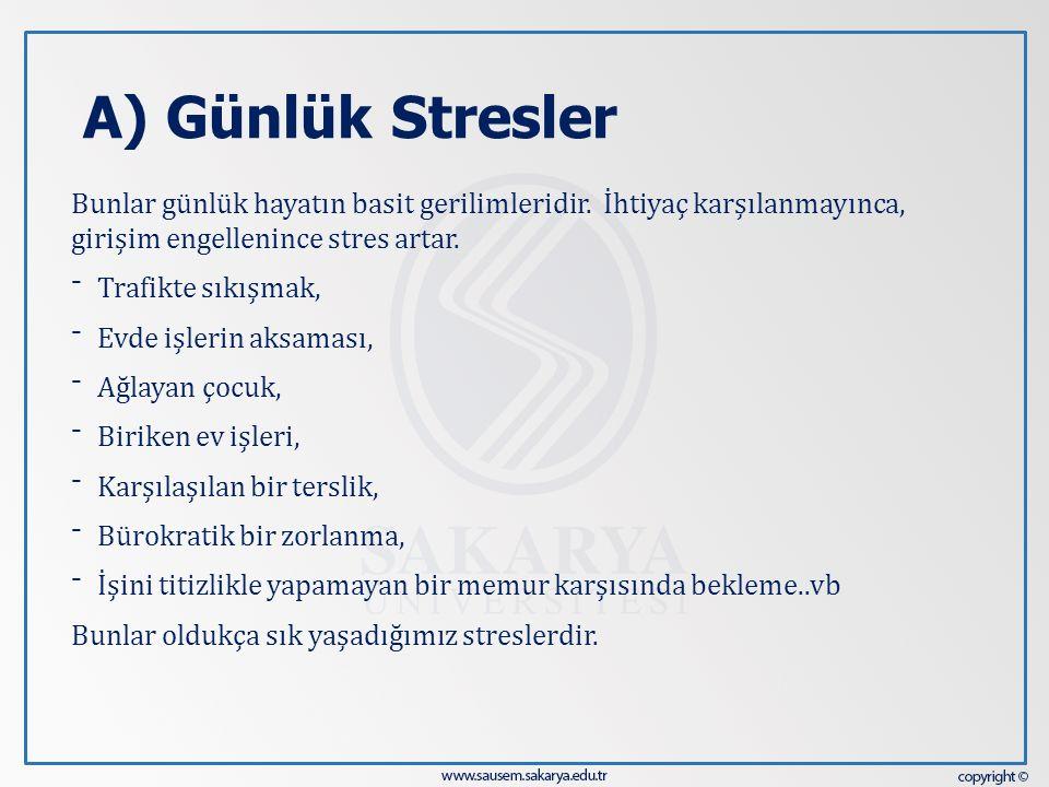 A) Günlük Stresler Bunlar günlük hayatın basit gerilimleridir. İhtiyaç karşılanmayınca, girişim engellenince stres artar.