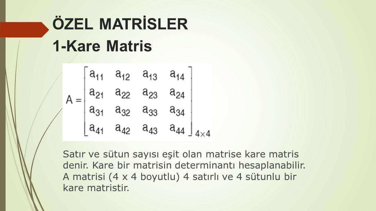 ÖZEL MATRİSLER 1-Kare Matris