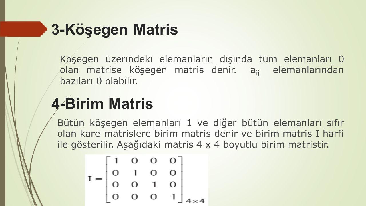 3-Köşegen Matris 4-Birim Matris