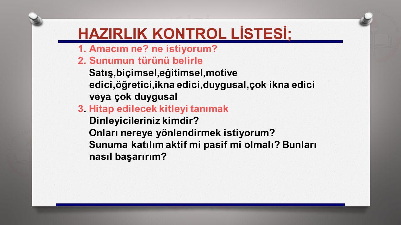 HAZIRLIK KONTROL LİSTESİ;