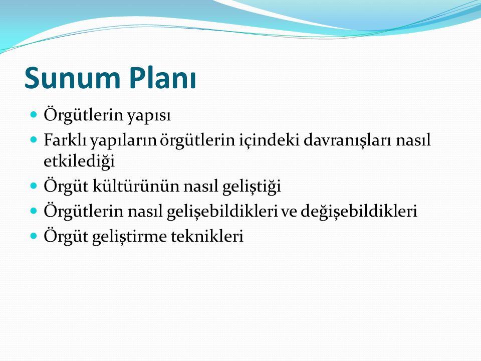 Sunum Planı Örgütlerin yapısı