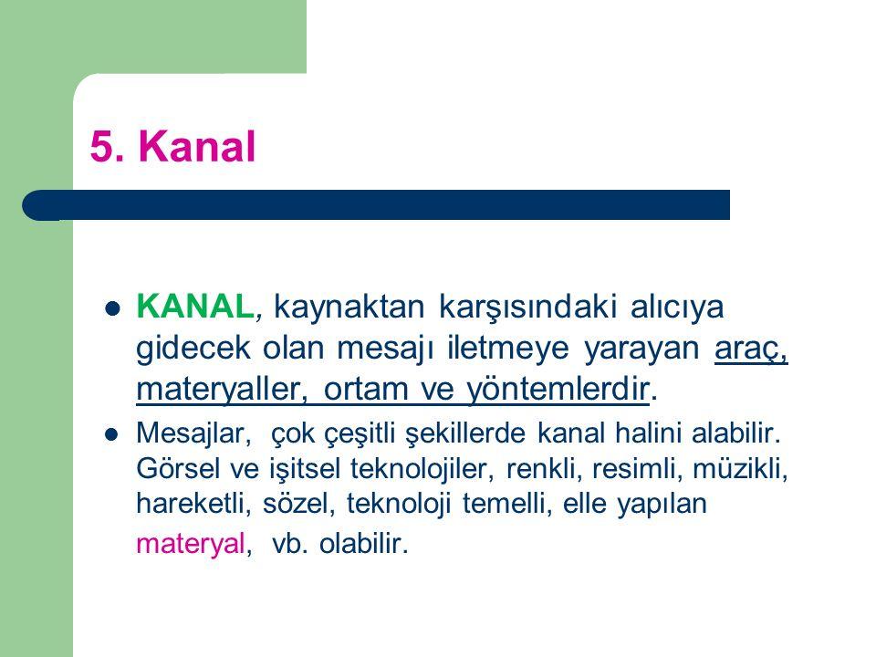 5. Kanal KANAL, kaynaktan karşısındaki alıcıya gidecek olan mesajı iletmeye yarayan araç, materyaller, ortam ve yöntemlerdir.