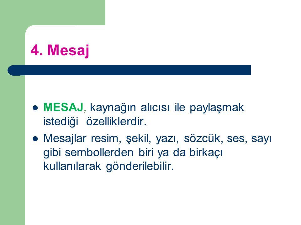4. Mesaj MESAJ, kaynağın alıcısı ile paylaşmak istediği özelliklerdir.