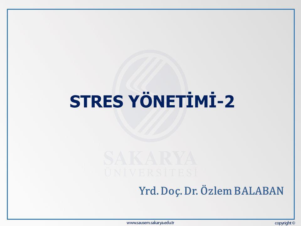 STRES YÖNETİMİ-2 Yrd. Doç. Dr. Özlem BALABAN