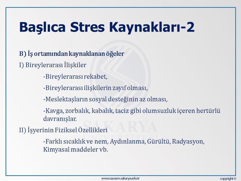 Başlıca Stres Kaynakları-2