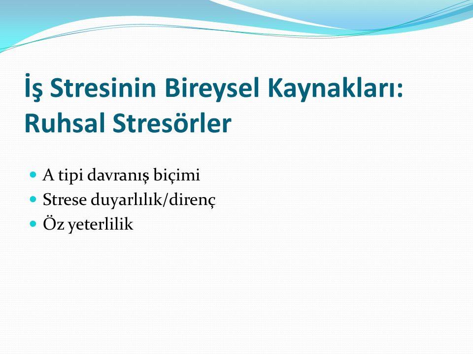 İş Stresinin Bireysel Kaynakları: Ruhsal Stresörler