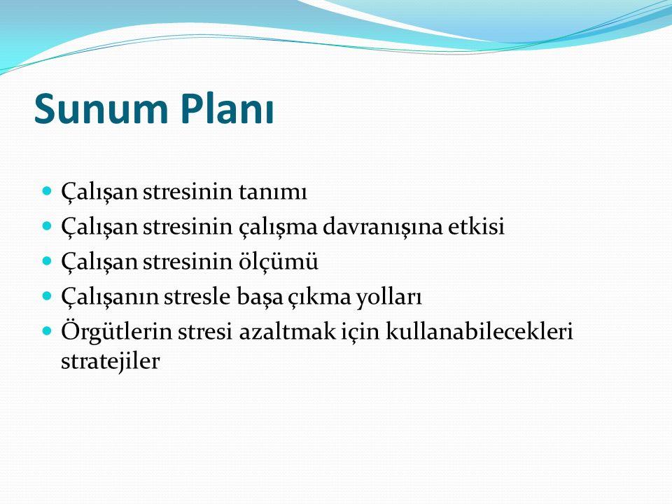 Sunum Planı Çalışan stresinin tanımı