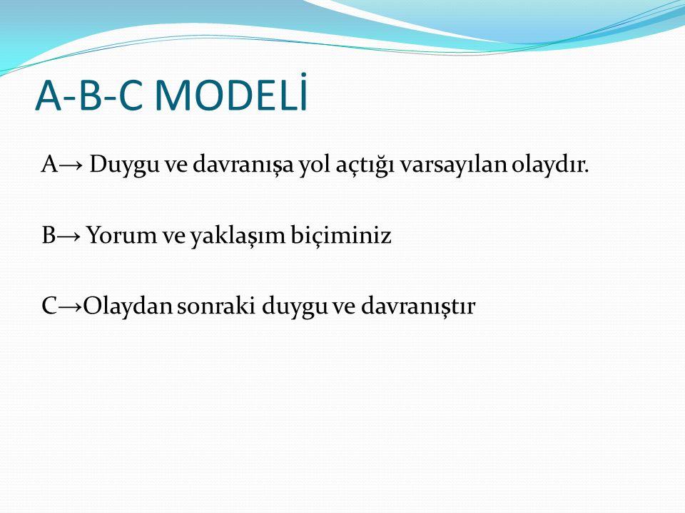 A-B-C MODELİ A→ Duygu ve davranışa yol açtığı varsayılan olaydır.