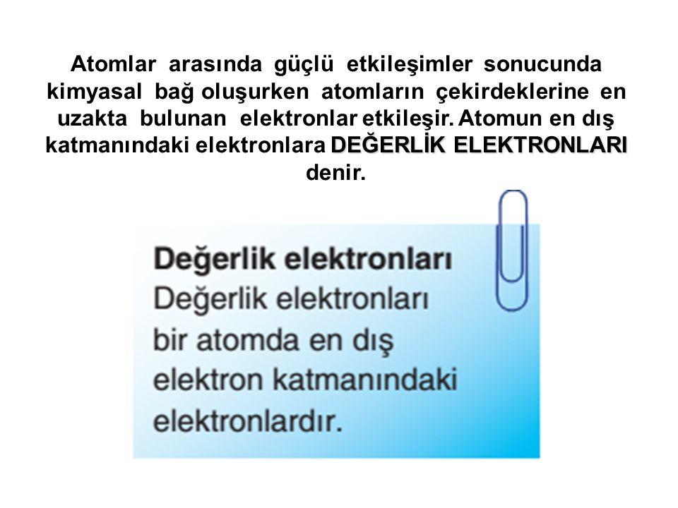 Atomlar arasında güçlü etkileşimler sonucunda kimyasal bağ oluşurken atomların çekirdeklerine en uzakta bulunan elektronlar etkileşir.