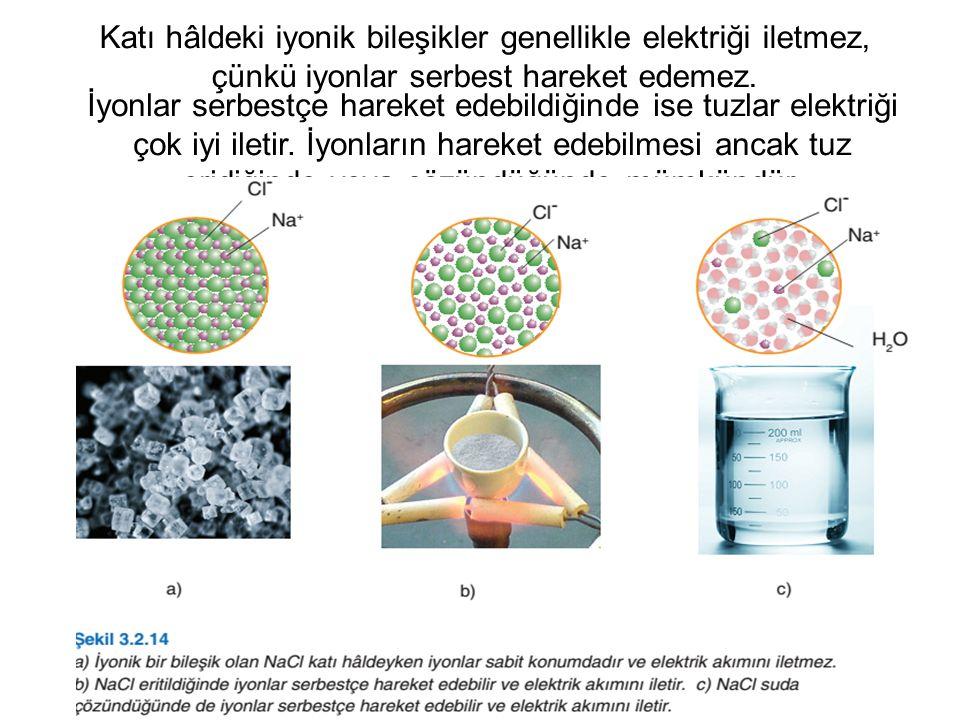 Katı hâldeki iyonik bileşikler genellikle elektriği iletmez, çünkü iyonlar serbest hareket edemez.