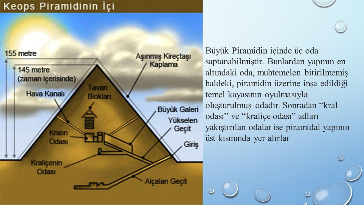 Büyük Piramidin içinde üç oda saptanabilmiştir