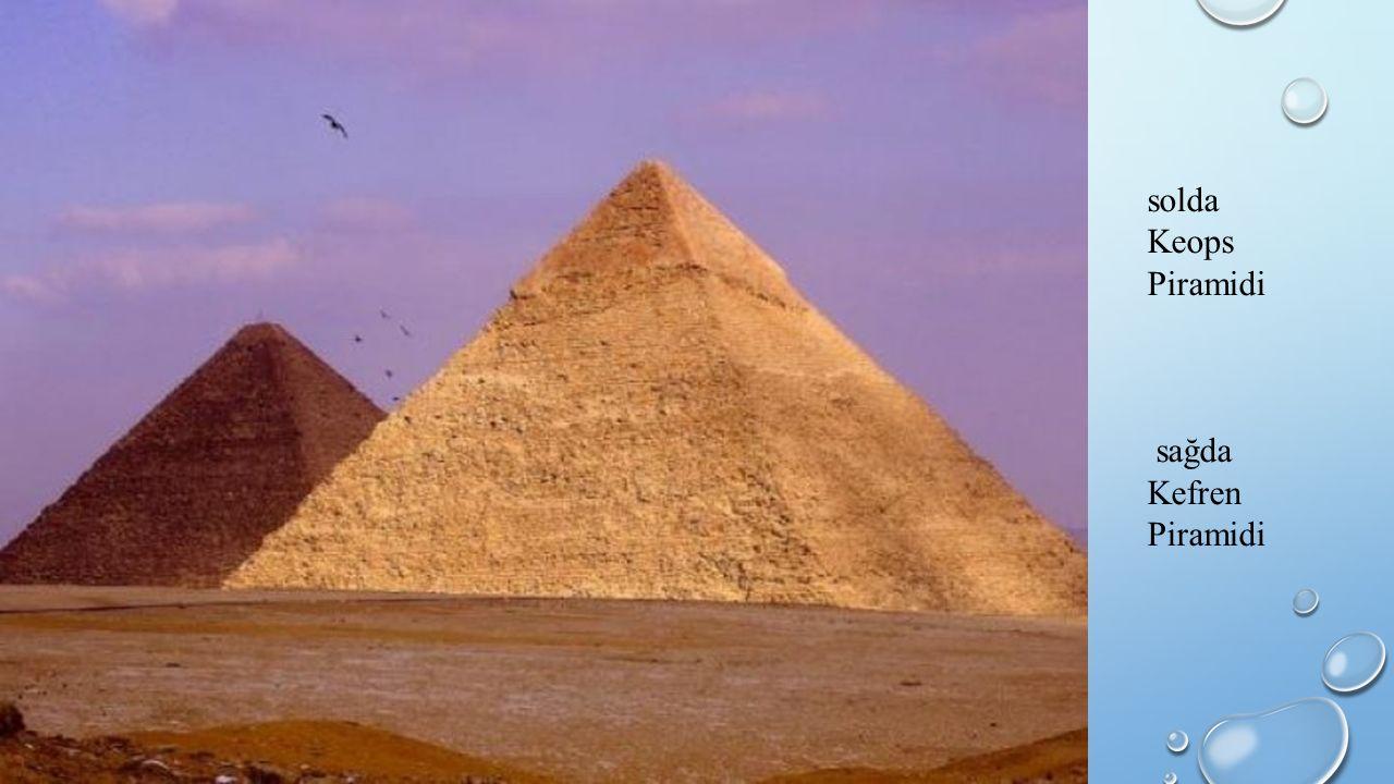solda Keops Piramidi sağda Kefren Piramidi