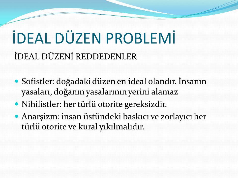 İDEAL DÜZEN PROBLEMİ İDEAL DÜZENİ REDDEDENLER
