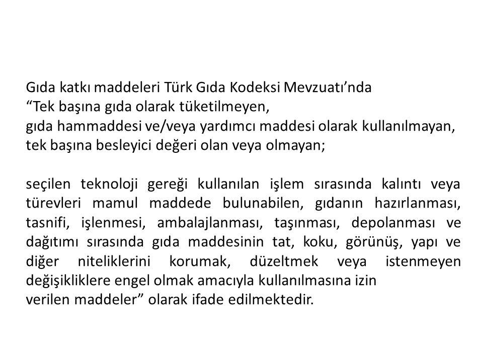 Gıda katkı maddeleri Türk Gıda Kodeksi Mevzuatı'nda