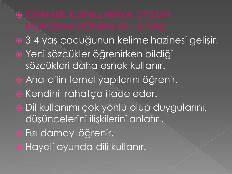 GRAMER KURALLARINA UYGUN KONUŞMA DÖNEMİ (3 – 6 YAŞ)