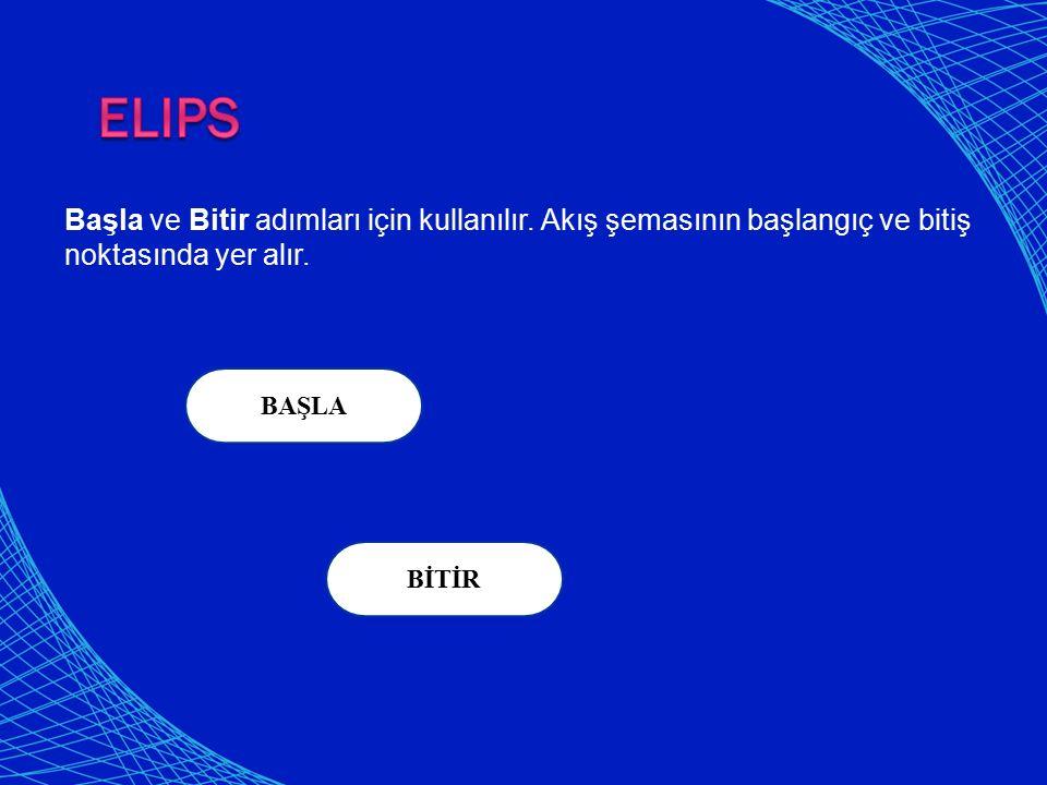 Elips Başla ve Bitir adımları için kullanılır. Akış şemasının başlangıç ve bitiş noktasında yer alır.
