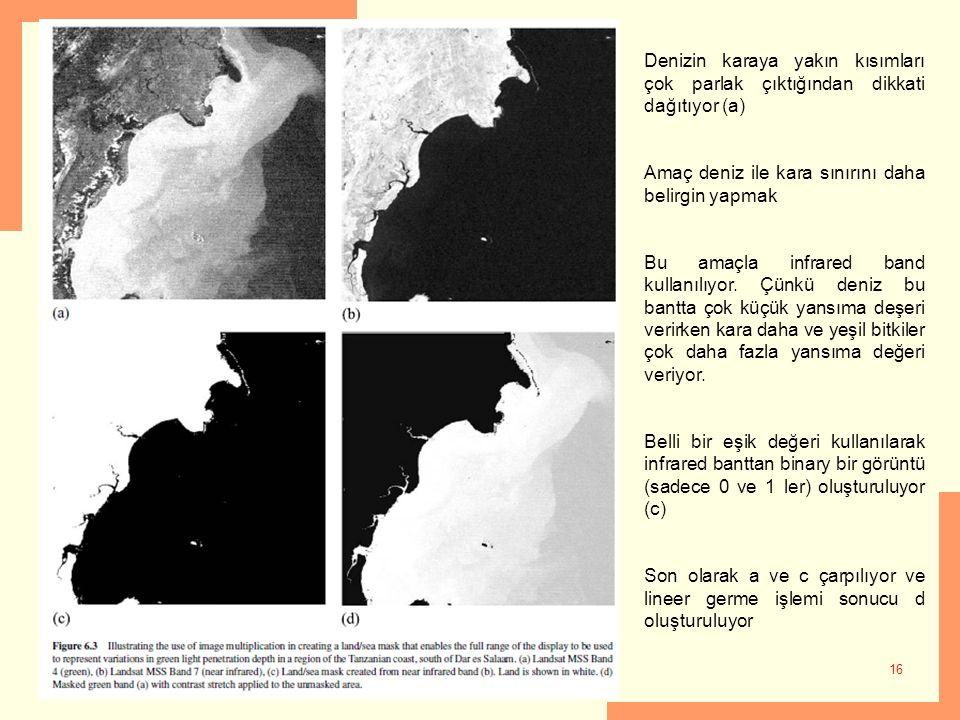 Denizin karaya yakın kısımları çok parlak çıktığından dikkati dağıtıyor (a)