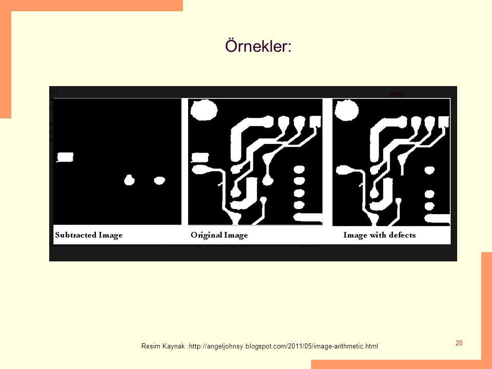 Örnekler: Resim Kaynak :http://angeljohnsy.blogspot.com/2011/05/image-arithmetic.html