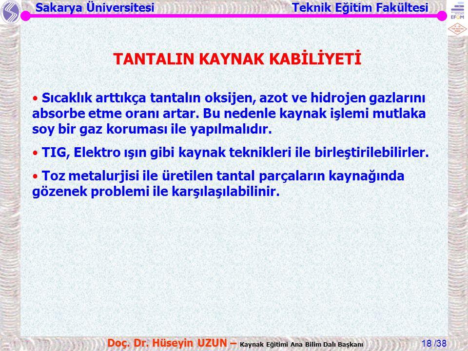TANTALIN KAYNAK KABİLİYETİ