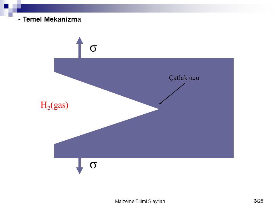 σ H2(gas) - Temel Mekanizma Çatlak ucu