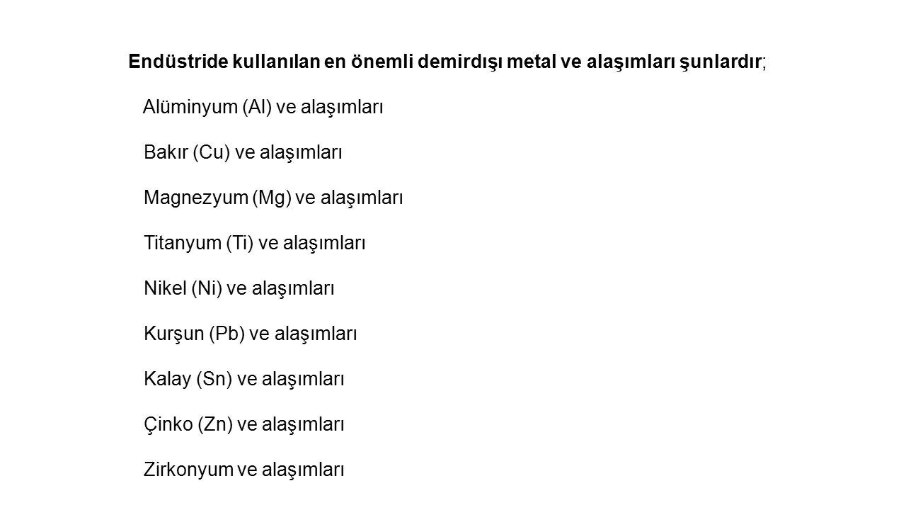 Endüstride kullanılan en önemli demirdışı metal ve alaşımları şunlardır;