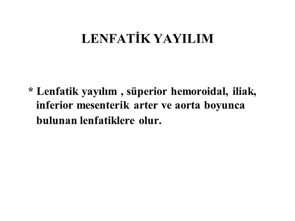 LENFATİK YAYILIM * Lenfatik yayılım , süperior hemoroidal, iliak, inferior mesenterik arter ve aorta boyunca bulunan lenfatiklere olur.