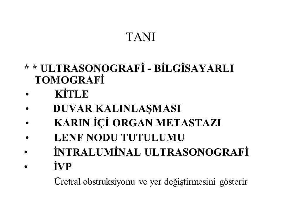 TANI * * ULTRASONOGRAFİ - BİLGİSAYARLI TOMOGRAFİ KİTLE