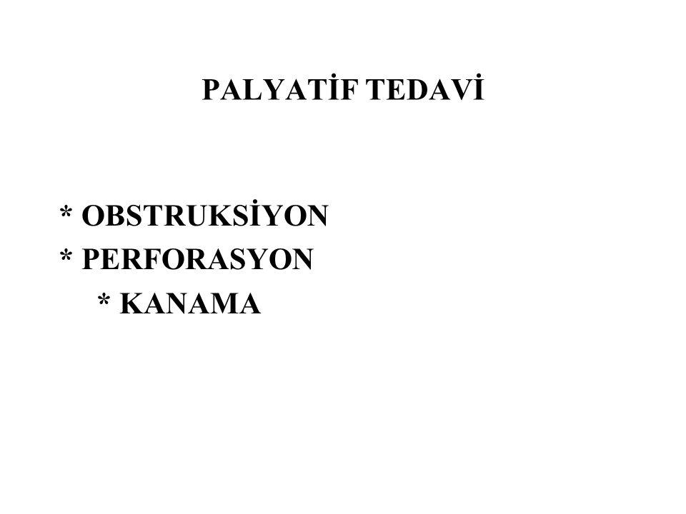 PALYATİF TEDAVİ * OBSTRUKSİYON * PERFORASYON * KANAMA