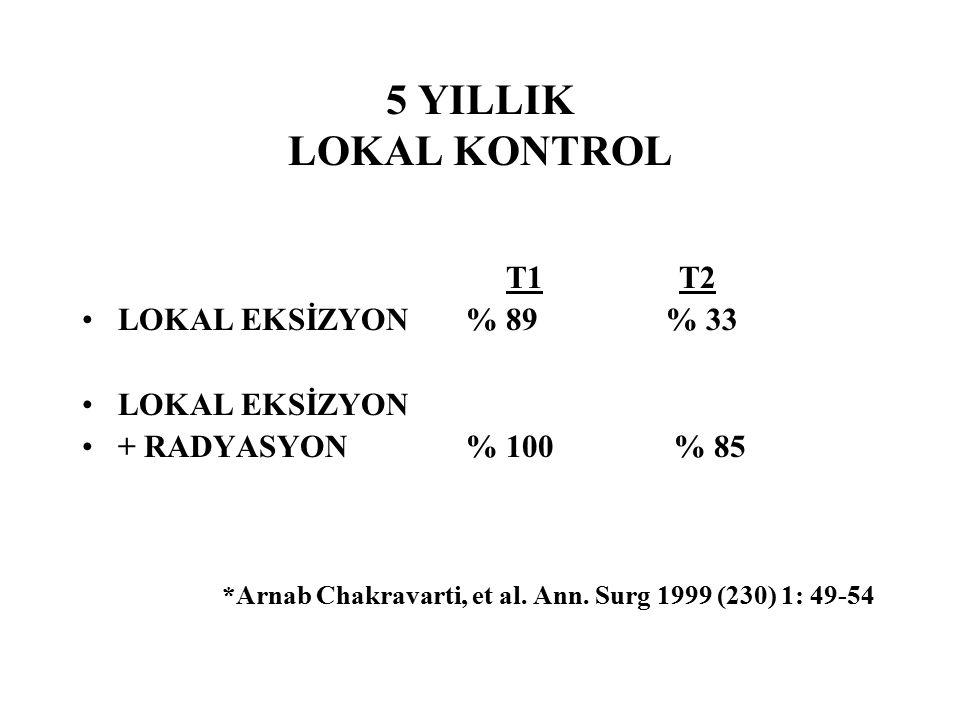 5 YILLIK LOKAL KONTROL T1 T2 LOKAL EKSİZYON % 89 % 33 LOKAL EKSİZYON