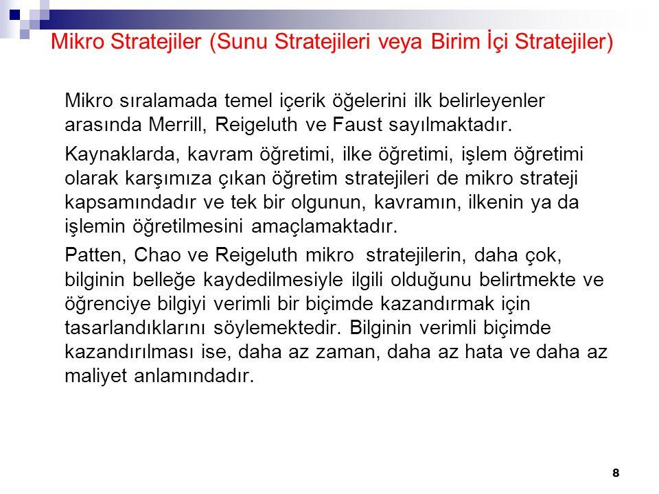 Mikro Stratejiler (Sunu Stratejileri veya Birim İçi Stratejiler)