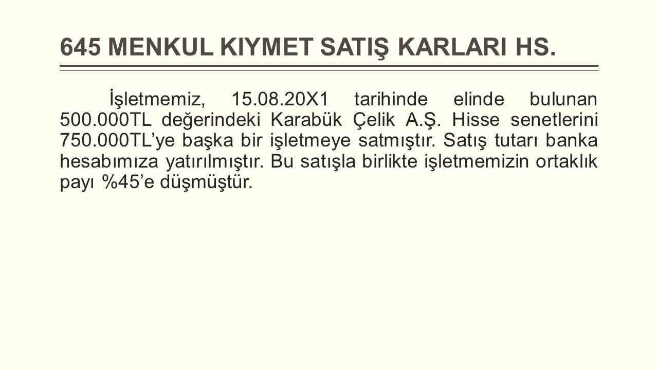 645 MENKUL KIYMET SATIŞ KARLARI HS.