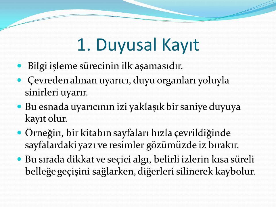 1. Duyusal Kayıt Bilgi işleme sürecinin ilk aşamasıdır.