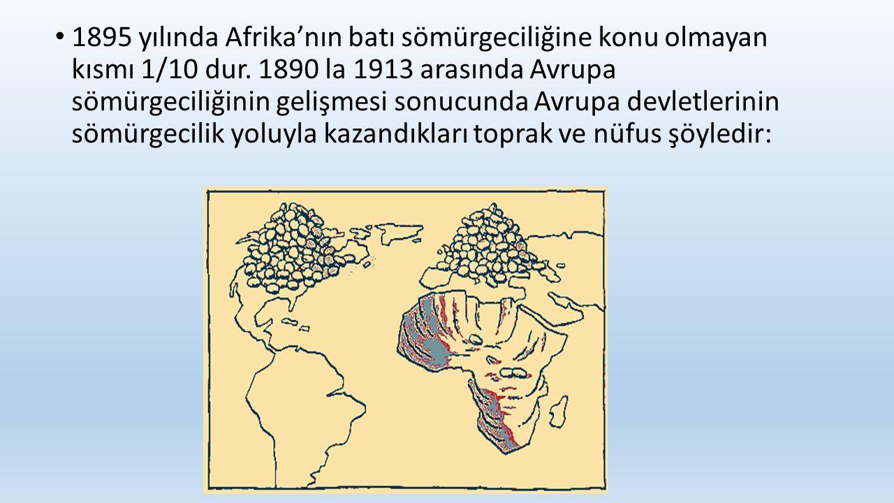 1895 yılında Afrika'nın batı sömürgeciliğine konu olmayan kısmı 1/10 dur.