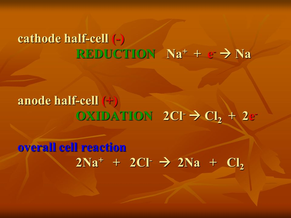 cathode half-cell (-). REDUCTION. Na+ + e-  Na anode half-cell (+)