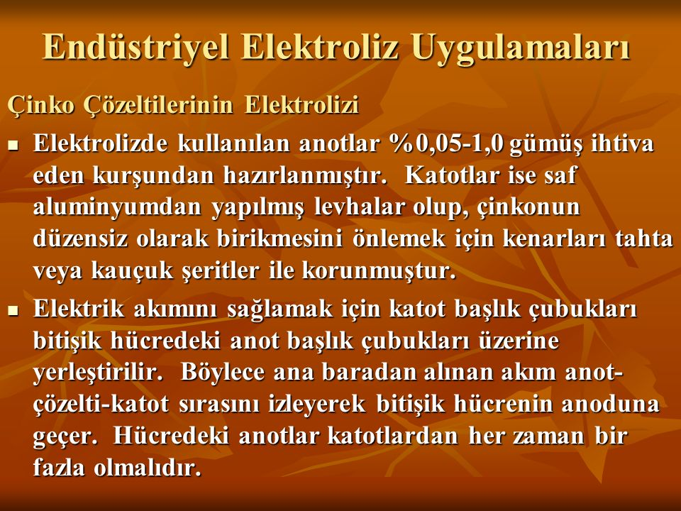 Endüstriyel Elektroliz Uygulamaları