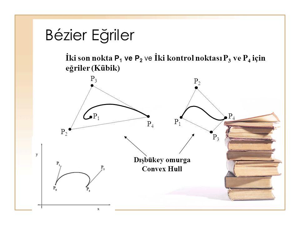 Bézier Eğriler İki son nokta P1 ve P2 ve İki kontrol noktası P3 ve P4 için eğriler (Kübik) P1. P2.
