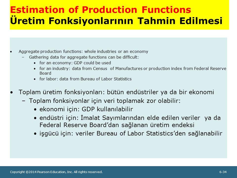 Estimation of Production Functions Üretim Fonksiyonlarının Tahmin Edilmesi