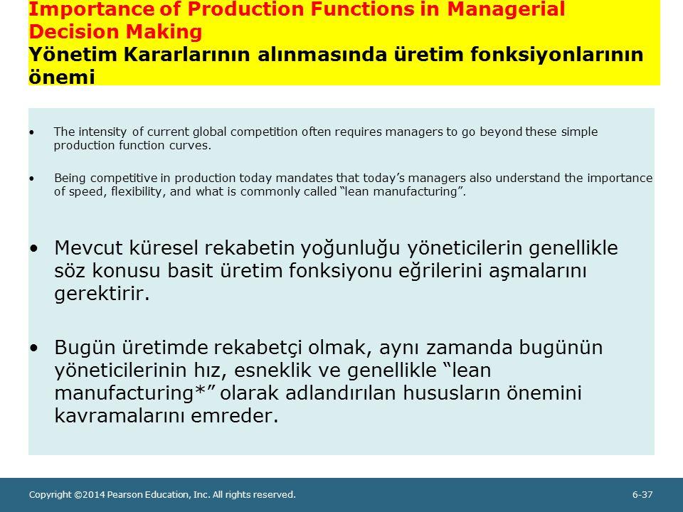 Importance of Production Functions in Managerial Decision Making Yönetim Kararlarının alınmasında üretim fonksiyonlarının önemi