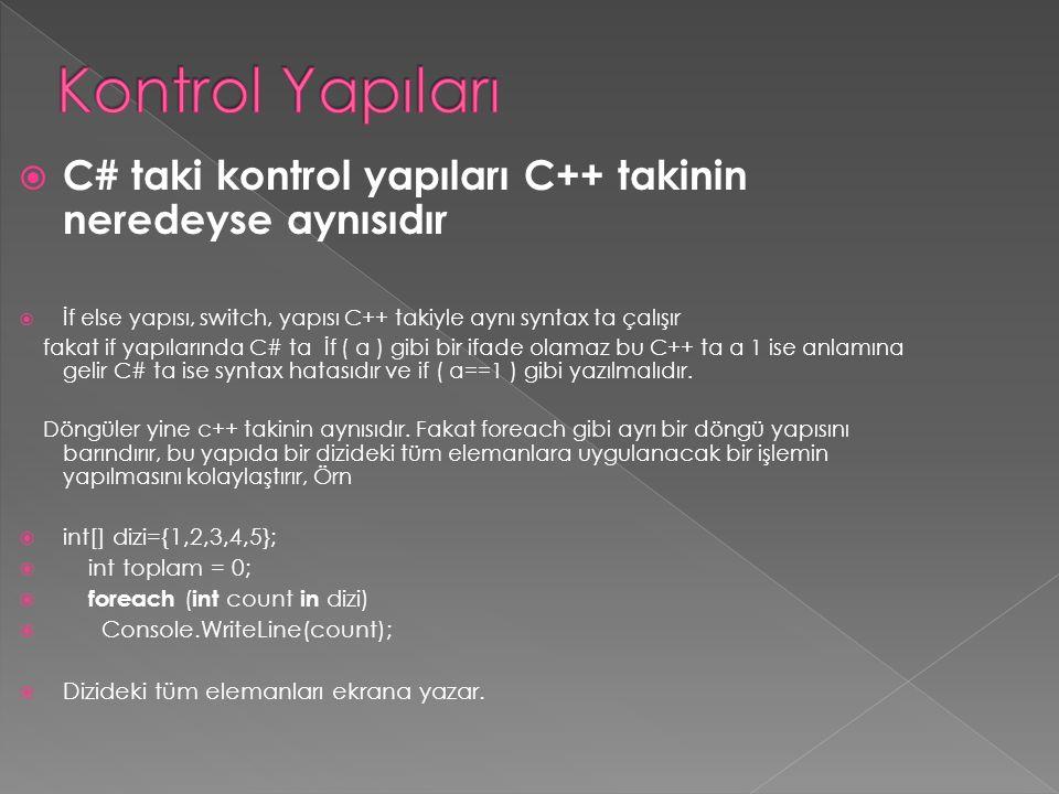 Kontrol Yapıları C# taki kontrol yapıları C++ takinin neredeyse aynısıdır. İf else yapısı, switch, yapısı C++ takiyle aynı syntax ta çalışır.
