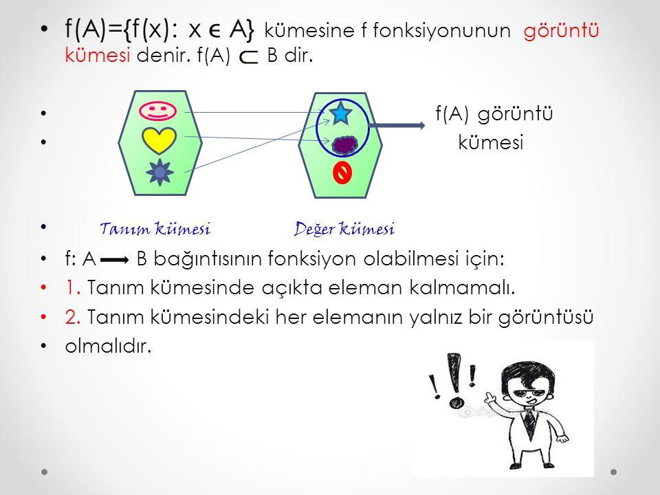 f(A)={f(x): x  A} kümesine f fonksiyonunun görüntü kümesi denir