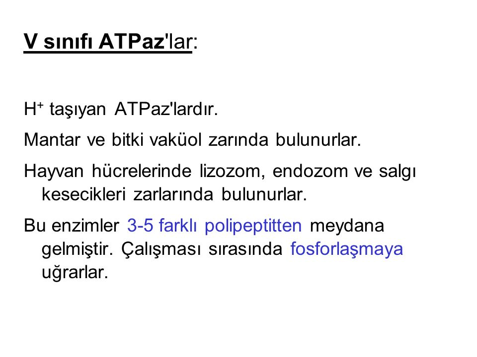 V sınıfı ATPaz lar: H+ taşıyan ATPaz lardır.