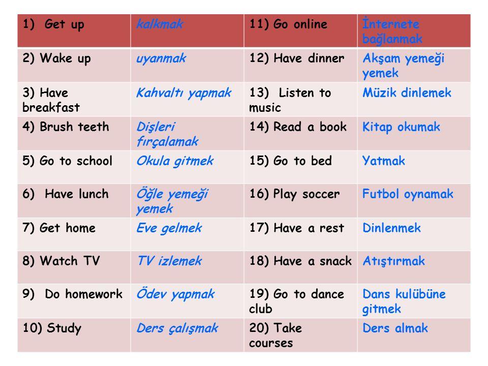 1) Get up kalkmak. 11) Go online. İnternete bağlanmak. 2) Wake up. uyanmak. 12) Have dinner. Akşam yemeği yemek.