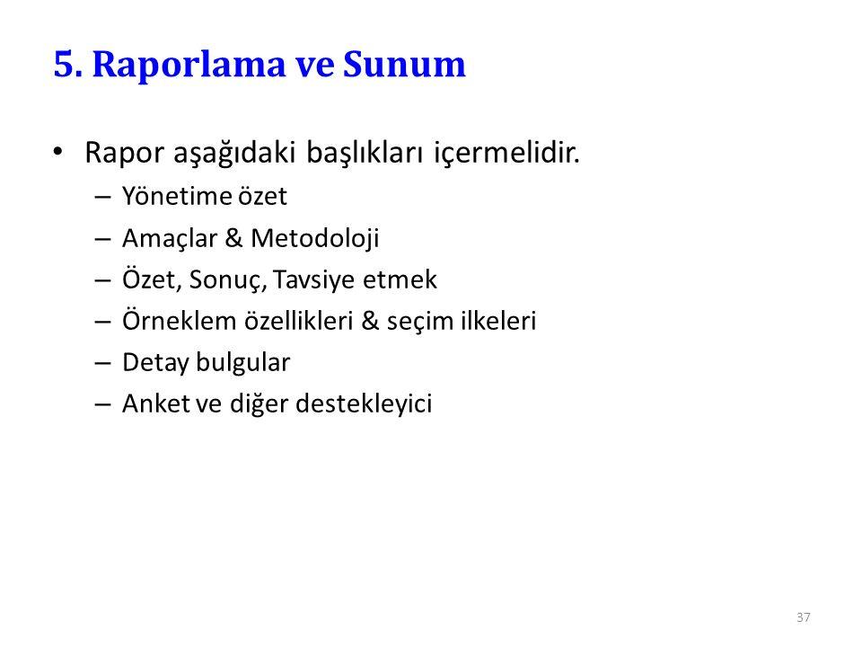 5. Raporlama ve Sunum Rapor aşağıdaki başlıkları içermelidir.