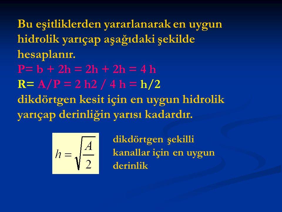 Bu eşitliklerden yararlanarak en uygun hidrolik yarıçap aşağıdaki şekilde hesaplanır.