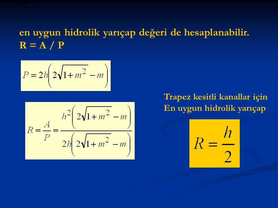 en uygun hidrolik yarıçap değeri de hesaplanabilir. R = A / P
