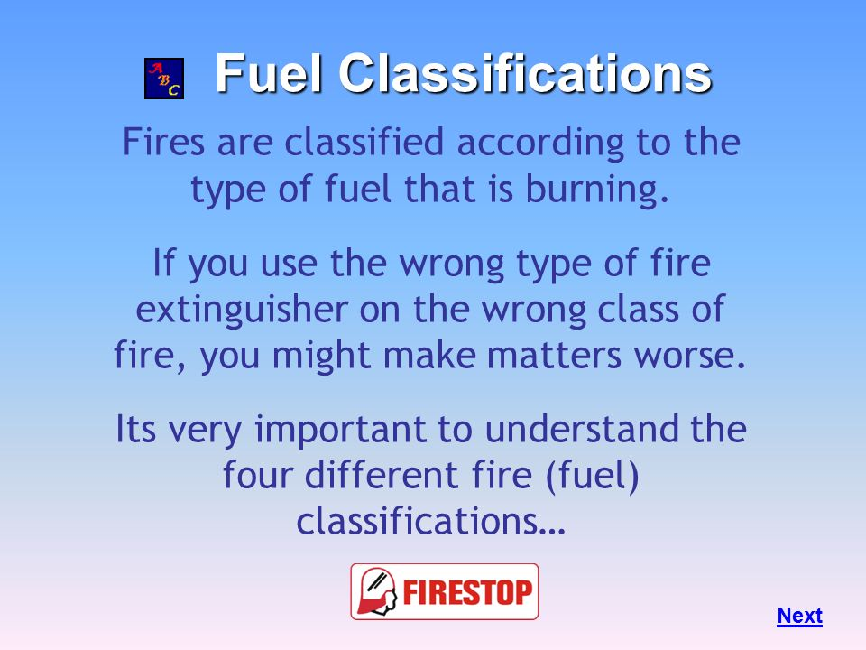 Fires are classified according to the type of fuel that is burning.