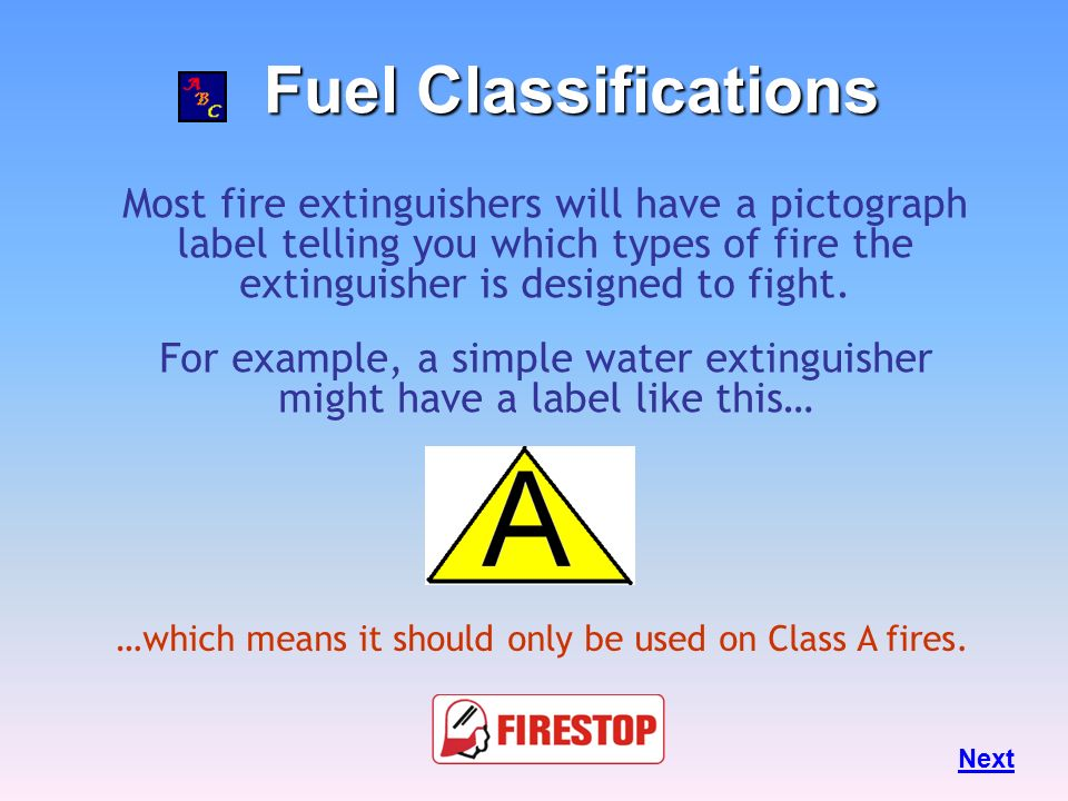 For example, a simple water extinguisher might have a label like this…